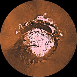 Polar ice cap - Mars's north polar region with ice cap, composite of Viking 1 orbiter images (Courtesy NASA/JPL-Caltech)