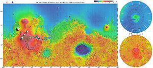 Geography of Mars - High resolution topographic map of Mars based on the Mars Global Surveyor laser altimeter research led by Maria Zuber and David Smith. North is at the top. Notable features include the Tharsis volcanoes in the west (including Olympus Mons), Valles Marineris to the east of Tharsis, and Hellas basin in the southern hemisphere.