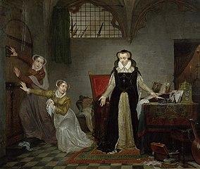 Marie Stuart, reine d'Écosse et prétendant au trône d'Angleterre, au moment où l'on vient la chercher pour aller à la mort