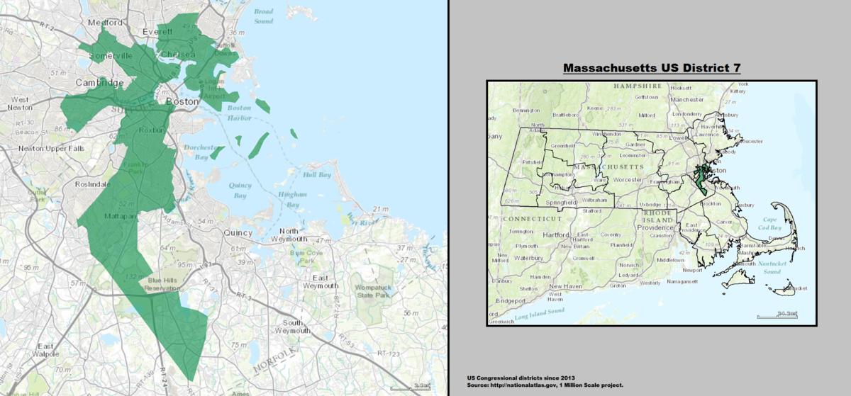 Massachusettss 7th Congressional District Wikipedia - Us-map-boston-ma
