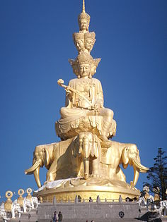 Massive golden buddha on the sumit of Eimei Shan