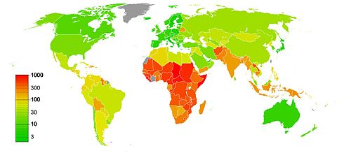 Global maternal mortality rate per 100 000 live births, (2010) Maternal mortality rate worldwide.jpg