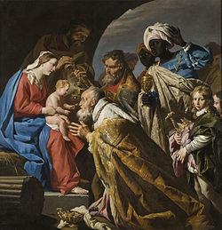 L'Adoration des mages peint par Matthias Stom (vers 1600-1650)