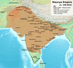 Maximum extent of the Maurya Empire, as shown by the location of Ashoka's inscriptions, and visualized by historians: Vincent Arthur Smith;[7] R. C. Majumdar;[8] and historical geographer Joseph E. Schwartzberg.[9]