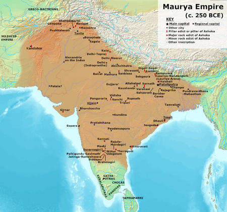 Three Crowned Kings ruled Tamilakam which comprised that part of India south of the Maurya Empire in c. 250 BCE. Maurya Empire, c.250 BCE 2.png