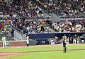 May 2017 GT vs. UGA baseball - Buzz dancing on dugout 4.jpg