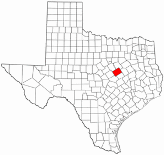 National Register of Historic Places listings in McLennan County, Texas - Location of McLennan County in Texas