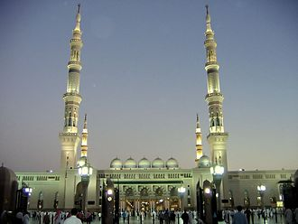 Holiest sites in Sunni Islam - Al-Masjid an-Nabawi in Medina, Saudi Arabia.