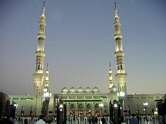 Holiest sites in Sunni Islam - Al-Masjid an-Nabawi in Medina, Saudi Arabia.