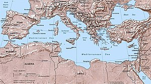 A relief map of the Mediterranean Sea area depicting the countries that surround it