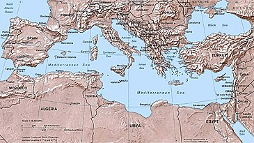 List of mediterranean countries wikipedia political map of the mediterranean sea as of september 2004 gumiabroncs Images