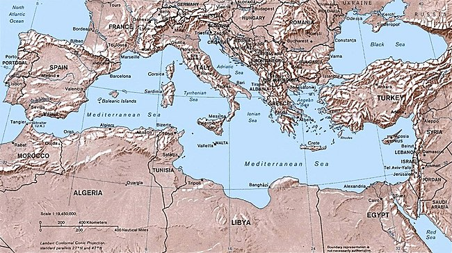Map of the Mediterranean Sea