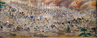 Edo - Scroll depicting the Great Fire of Meireki