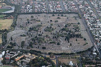 Melbourne General Cemetery - Aerial view of Melbourne General Cemetery, looking north