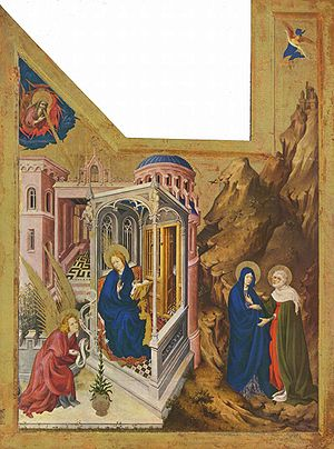 Melchior Broederlam - Melchior Broederlam, Annunciation and Visitation (1393–1399), left panel of a pair; (Dijon, Musée des Beaux-Arts)