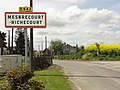 Mesbrecourt-Richecourt (Aisne) city limit sign.JPG