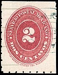 Mexico 1887 2c perf 6 Sc202 used.jpg