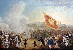 Lajkonik - Painting of the Lajkonik celebrations from 1818 by Michał Stachowicz