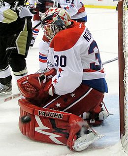 Photographie de Michal Neuvirth avec les Capitals de Washington en 2012