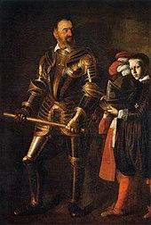 Portrait d'un noble en armure étincelante, suivi d'un page qui lui porte ses habits d'apparat.