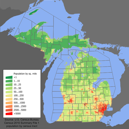 Michigan population distribution Michigan population map.png