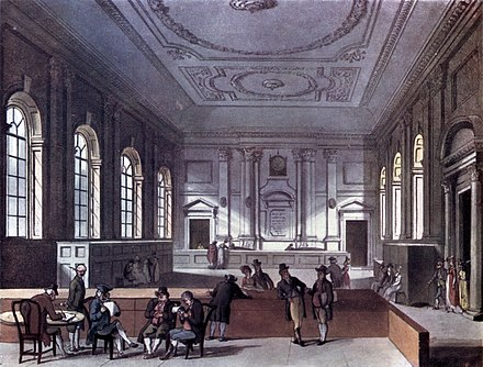 The Dividend Hall of South Sea House, 1810 Microcosm of London Plate 101 - South Sea House, Dividend Hall (tone).jpg