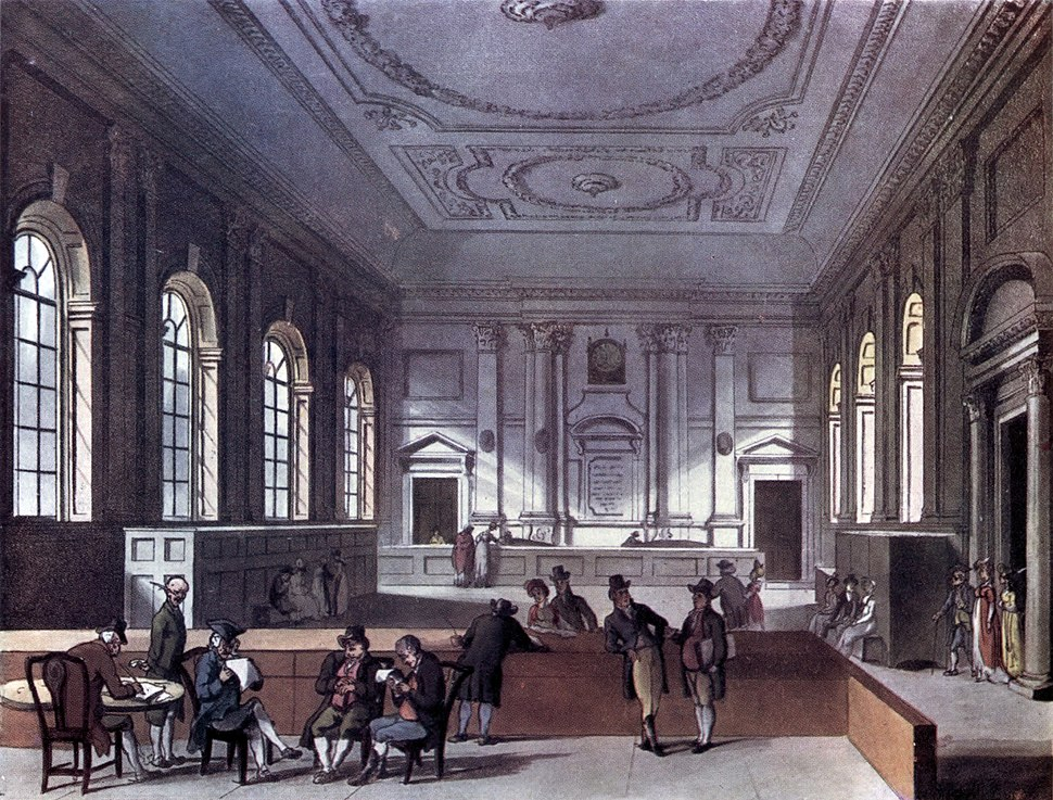 Microcosm of London Plate 101 - South Sea House, Dividend Hall (tone)