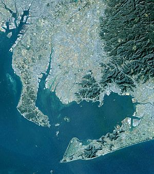 Atsumi Peninsula - Satellite image of Chita Peninsula (left), Mikawa Bay (center), and Atsumi Peninsula (lower right)