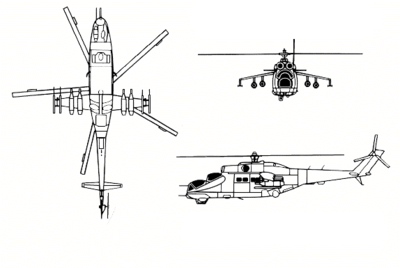 Orthographic projection of the Mil Mi-24.