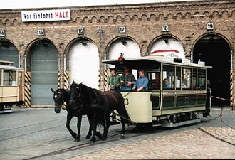 Trams in Berlin - Horse tram car of the Große Berliner Pferde-Eisenbahn, built in 1885