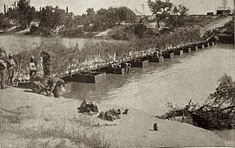 Battle of Magersfontein - Pontoon bridge built over the Modder River after the railway bridge was destroyed by retreating Boers