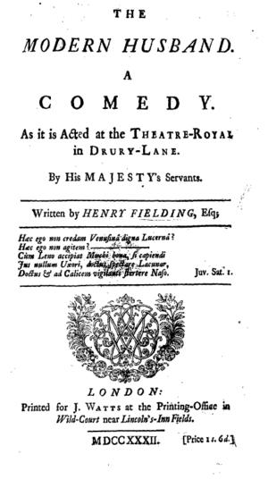 The Modern Husband - Titlepage to The Modern Husband: a Comedy