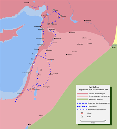 Map detailing the route of the Muslim invasion of northern Syria Mohammad adil-Muslim invasion of Syria-4.PNG