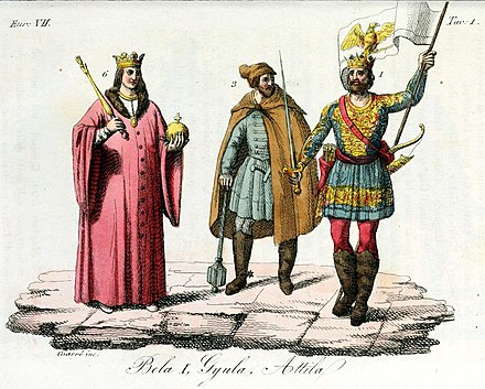 Attila (right) as a king of Hungary together with Gyula and Bela I, Illustration for Il costume antico e moderno by Giulio Ferrario (1831). Monarchs of Hungary, Attila, Gyula, Bela I, Illustration for Il costume antico e moderno by Giulio Ferrario 1831.jpg
