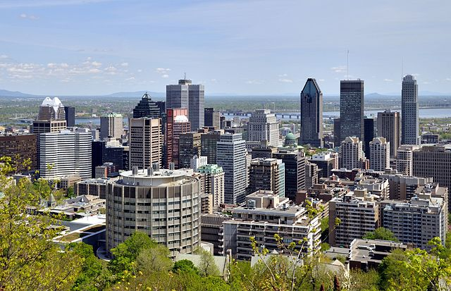 Skyline of Downtown Montreal, Canada, as seen from Mount Royal. Photo by Taxiarchos228.