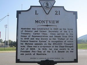 Carter Glass - Glass's Montview historical marker in Lynchburg, Virginia