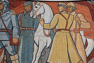 Mongolian People's Army - A Soviet-Russian and Mongolian tiled mural at the World War II Zaisan Memorial, Ulan-Bator, from the People's Republic of Mongolia era.