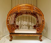 Moon-gate bed shown in the Philadelphia Centennial Exposition, Ningbo, China, c. 1876, satinwood (huang lu), other Asian woods, ivory - Peabody Essex Museum - DSC07353.jpg