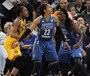 2016 WNBA Finals - Maya Moore and Sylvia Fowles of the Lynx (right) and Nneka Ogwumike of the Sparks (left) who ultimately made the winning basket