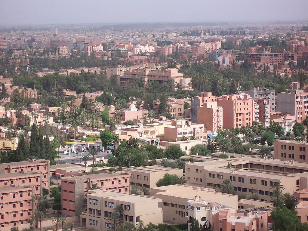 Vue sur le quartier occidental du Guéliz à Marrakech. Photo de CS.D.