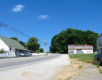 Tennessee State Route 52 - Buildings along State Route 52 in the Moss community of Clay County.