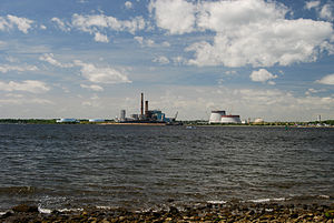 Mount Hope Bay - View of Mount Hope Bay and Brayton Point Power Station from Fall River, Massachusetts, June 2010