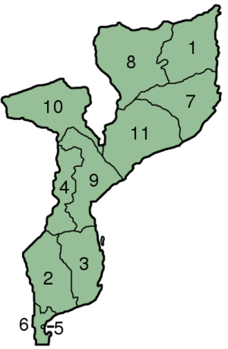 Provinces of Mozambique - Image: Mozambique Provinces numbered 300px