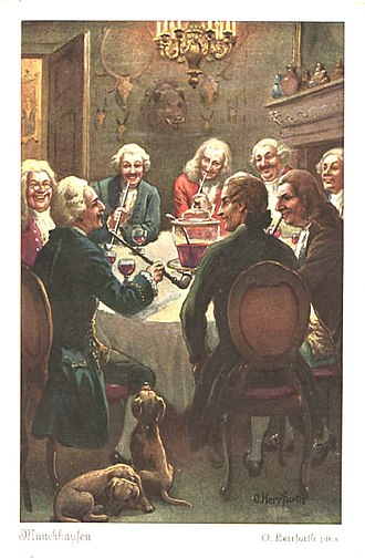 Baron Munchausen - The Baron entertaining guests, from a series of postcards by Oskar Herrfurth