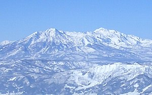Mount Myōkō - Mount Myōkō (left) and Mount Hiuchi (right) from the Nozawa Onsen ski area