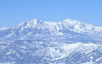 Mount Myōkō - Mount Myōkō (left) and Mount Hiuchi (right) from the Nozawa Onsen ski area