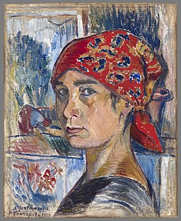 N.Goncharova - self-portrait (c.1907, Mead art museum)