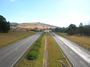 N3 road (South Africa) - A section of the N3 in the KwaZulu-Natal Midlands, showing the dual-carriageway freeway.