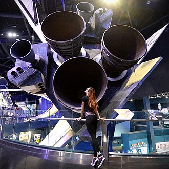 Thrust - Rear thrusters of the Space Shuttle Atlantis on display at Kennedy Space Center. These thrusters provided the lift necessary to propel the shuttle into outer space.