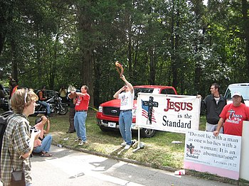 Religious protesters of gay pride event, 2006....